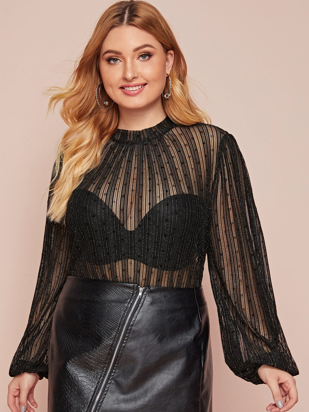 Plus Size Glitter Striped Sheer Mesh Top Without Bra