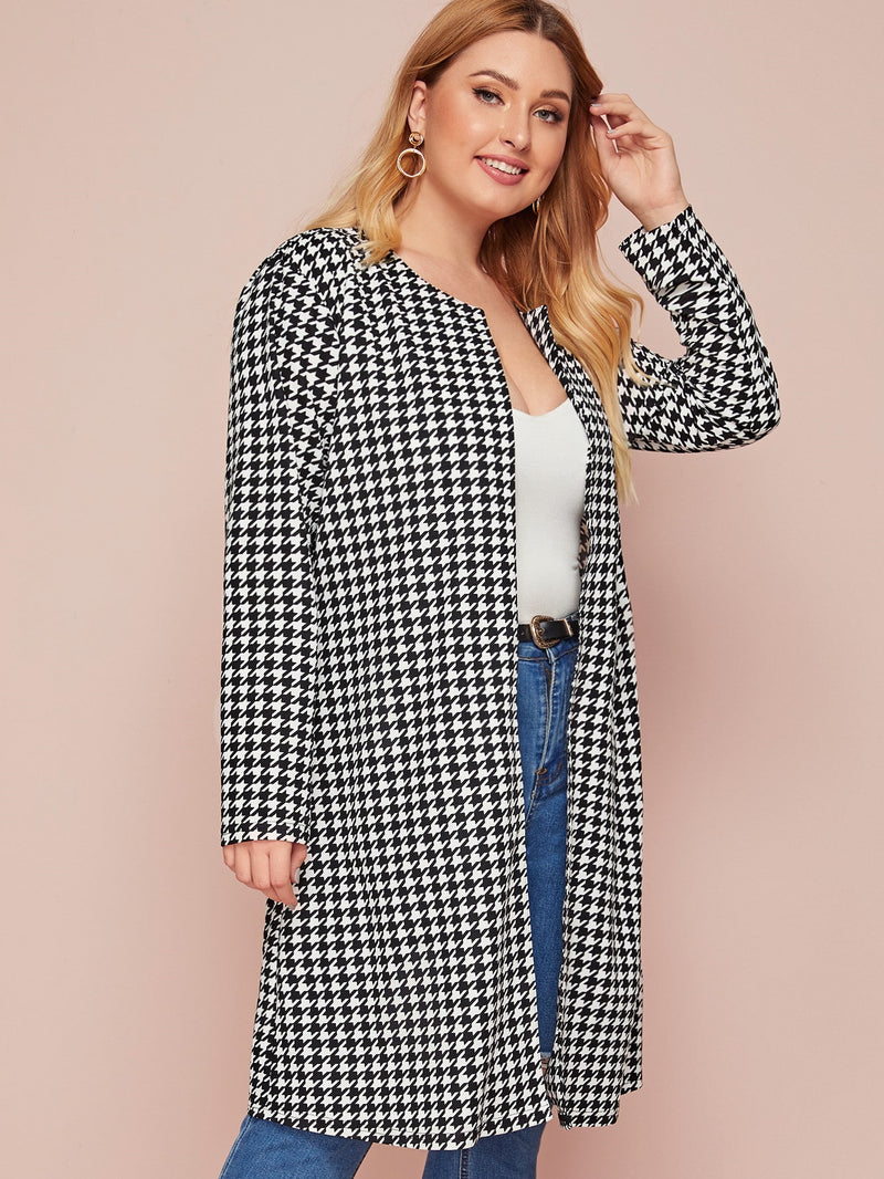 Plus Size Houndstooth Open Front Coat
