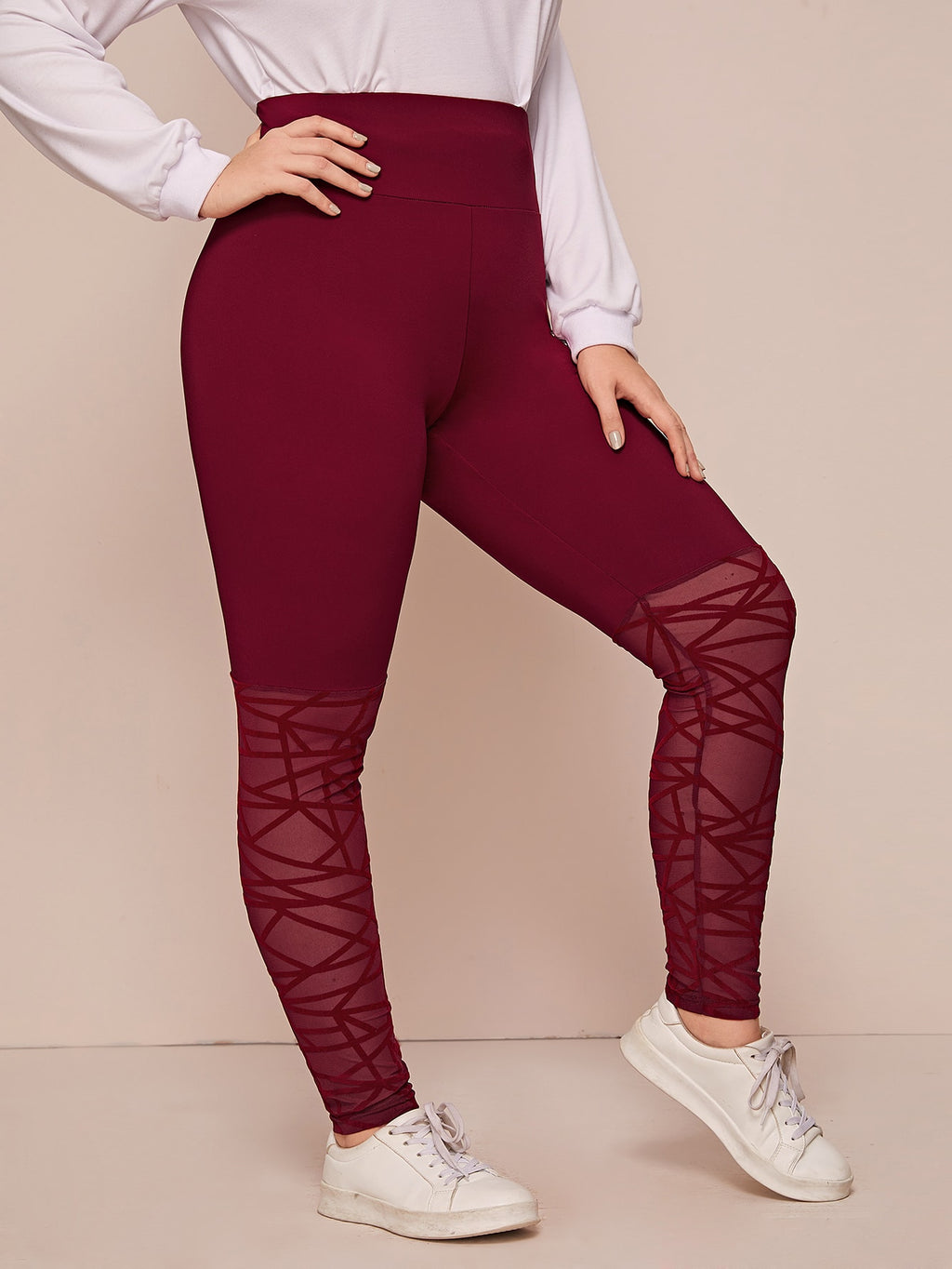Plus Size Wide Waistband Geo Mesh Panel Leggings