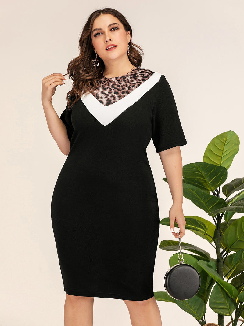 Plus Size Leopard Contrast Chevron Dress