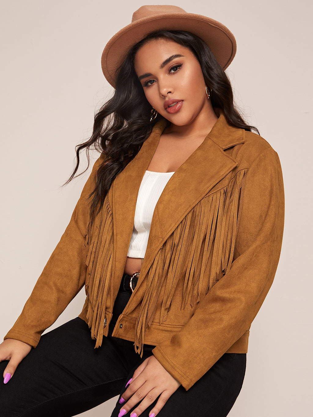 Plus Size Fringe Collar Suede Jacket
