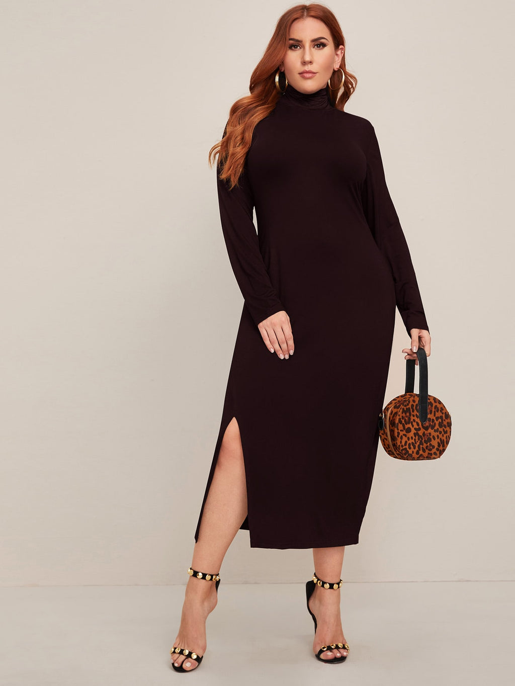 Plus Size High Neck Split Side Fitted Dress