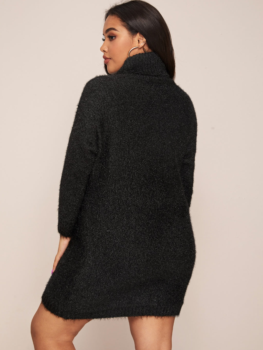 Plus Size Fuzzy Turtle Neck Sweater Dress Without Belt