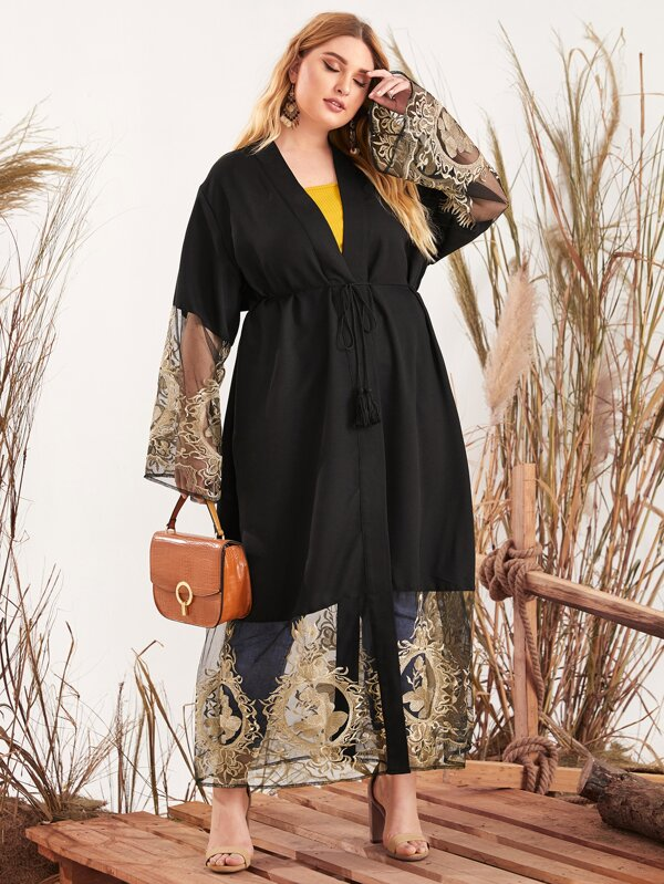 Plus Size Sheer Floral Embroidery Mesh Detail Belted Coat