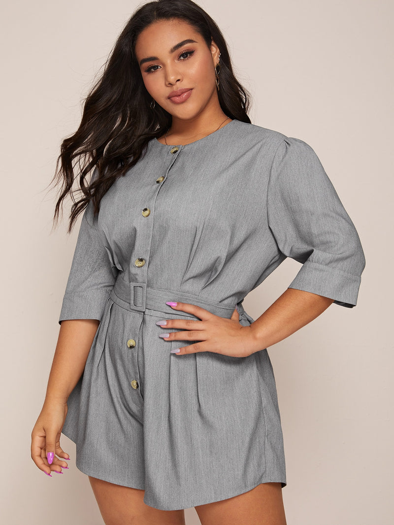 Plus Size Button Front Belted Romper