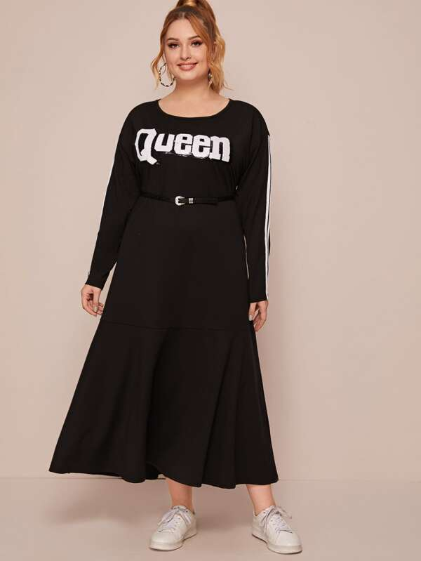 Plus Letter Graphic Side Stripe Tee Dress Without Belt