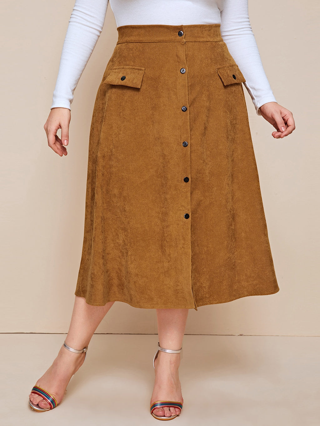 Plus Size Button Front Corduroy A-line Skirt
