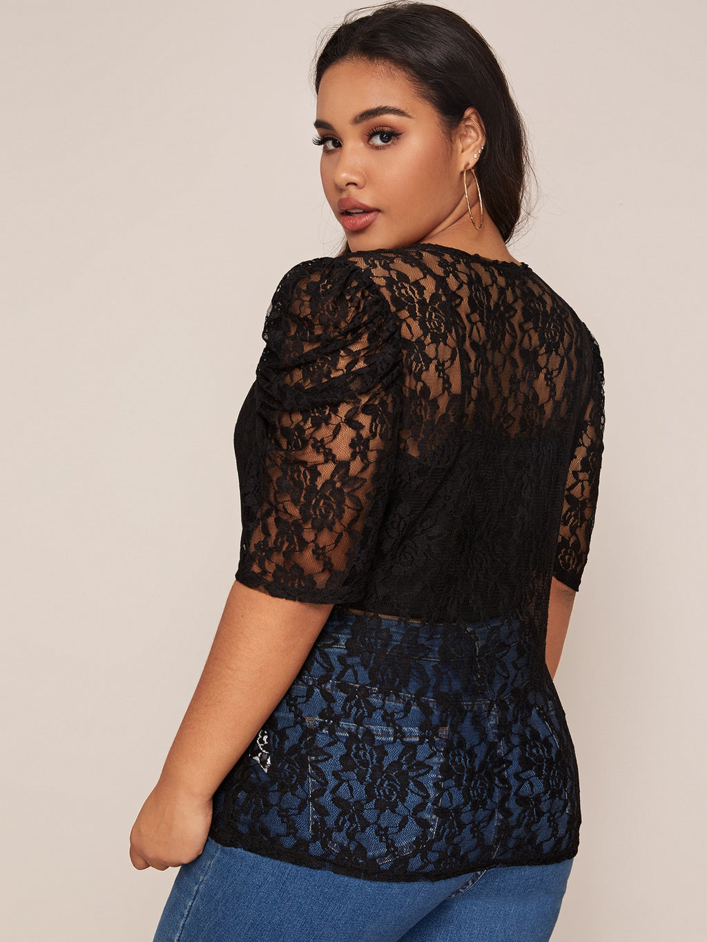 Plus Size Puff Sleeve Sheer Lace Top Without Cami
