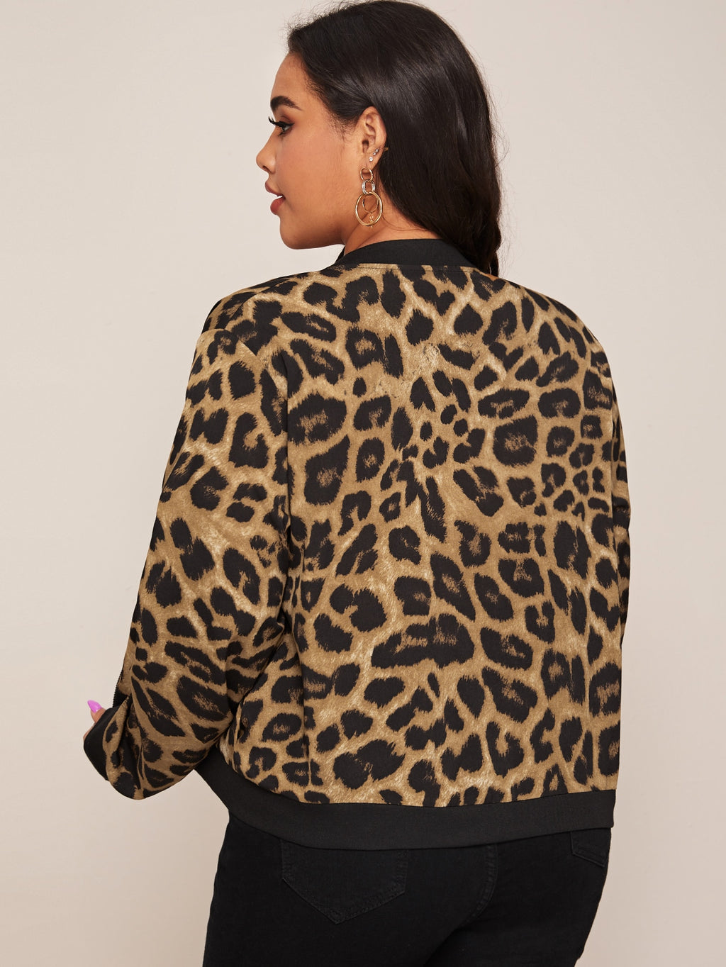 Plus Size Leopard Print Zip Up Bomber Jacket
