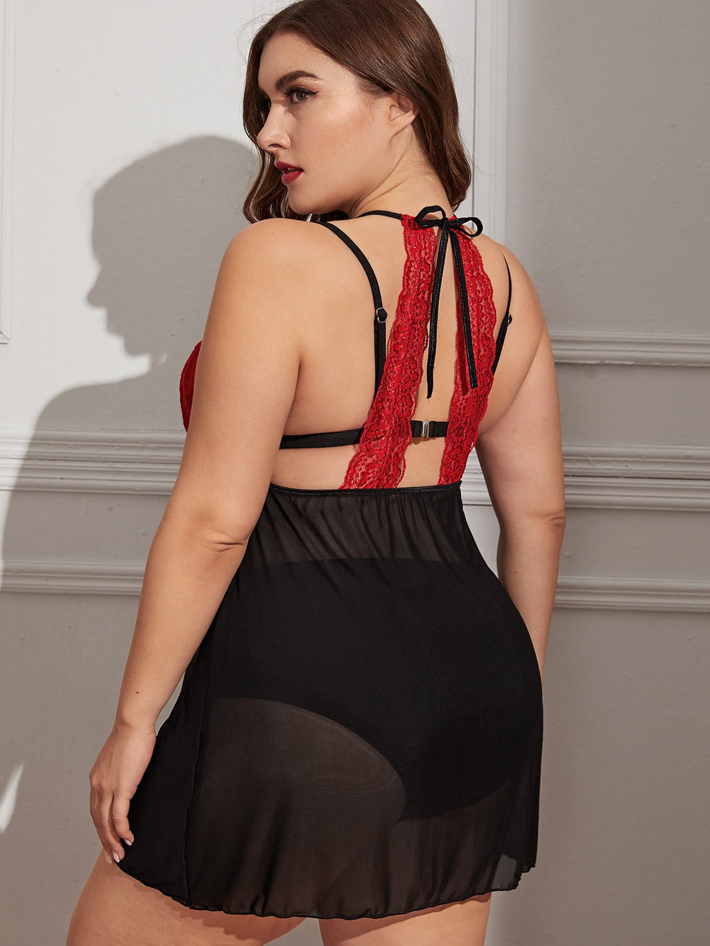 Plus Size Contrast Lace Mesh Halter Dress With Thong