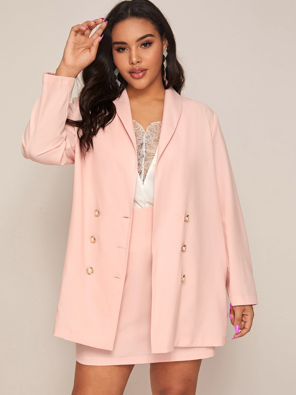 Plus Size Double Breasted Blazer & Skirt