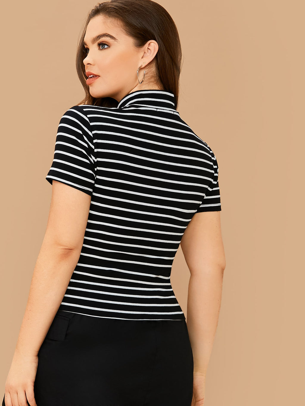 Plus Size Striped Mock-Neck Short Sleeve Top