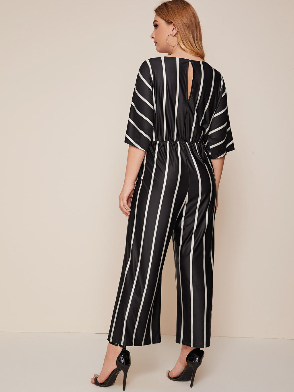 Plus Size Striped Tie Front Wide Leg Jumpsuit