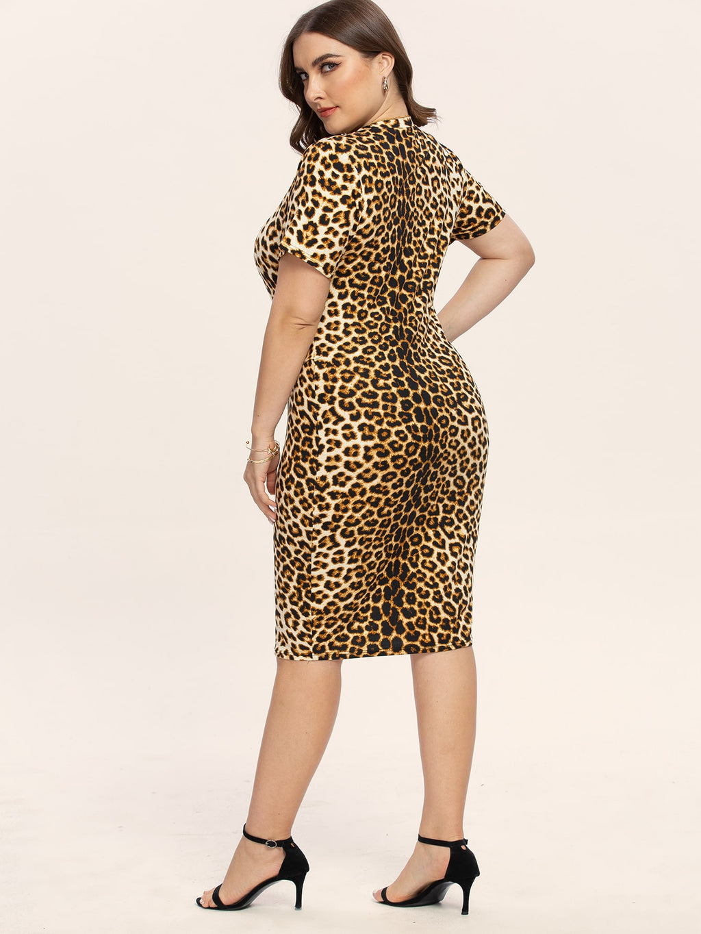 Plus Size Leopard Print Bodycon Belted Dress
