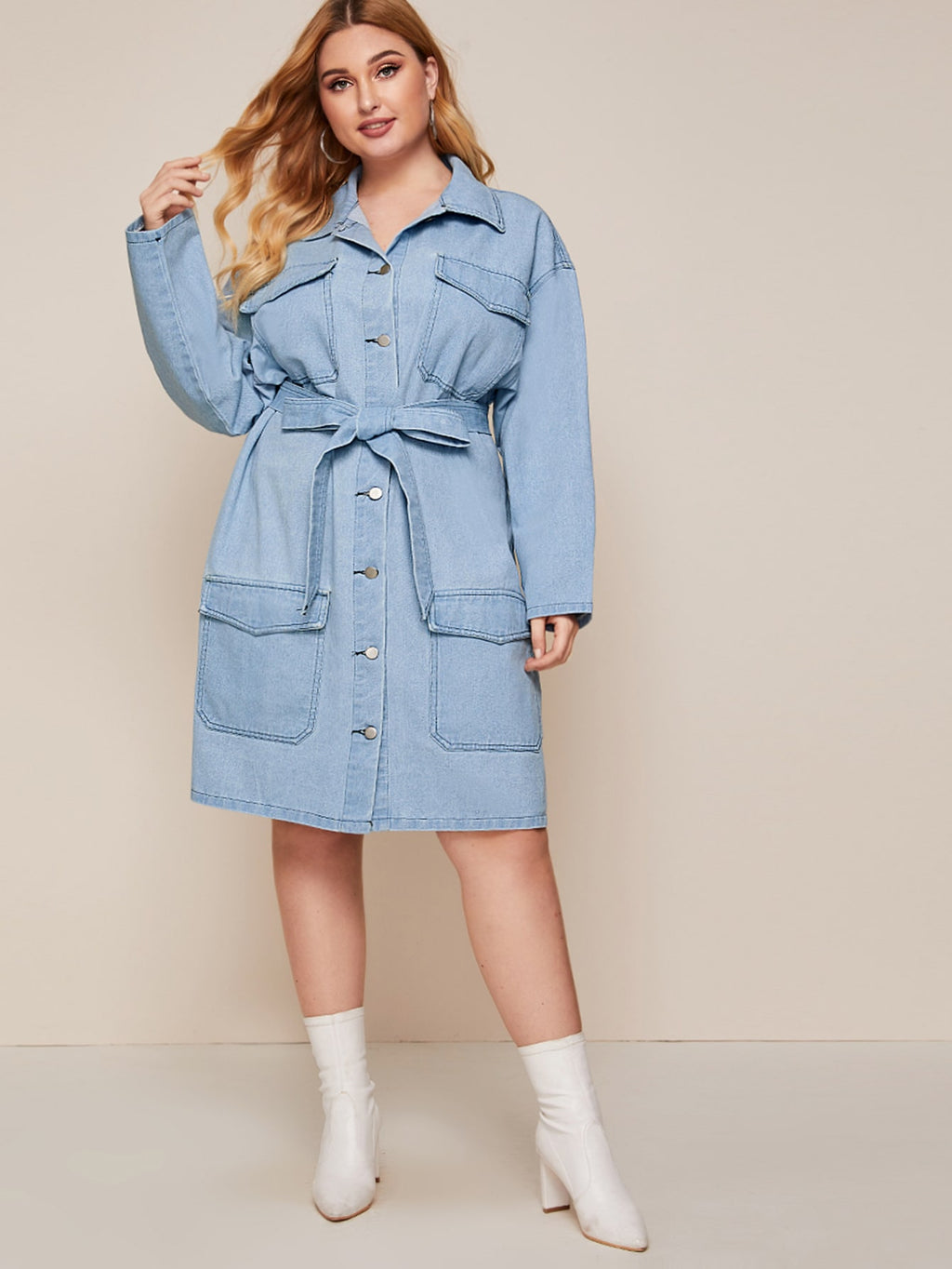 Plus Size Flap Pocket Belted Denim Dress