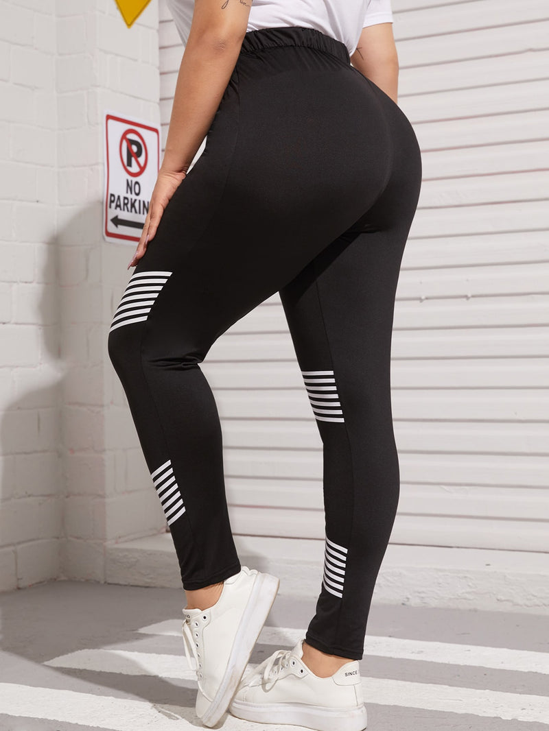 Plus Size Elastic Waist Striped Print Leggings