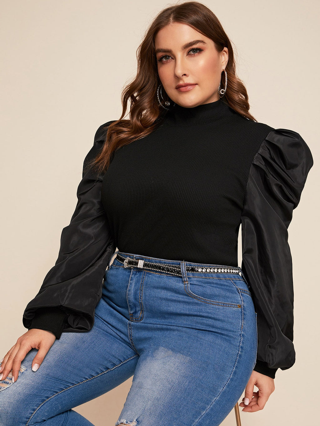 Plus Size Mock Neck Rib-Knit Top