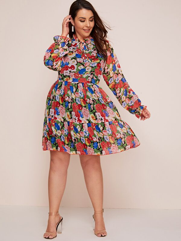 Plus Size Tie Neck Raglan Sleeve Ruffle Dress