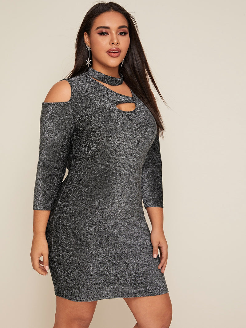 Plus Size Sparkling Cutout Detail Bodycon Dress