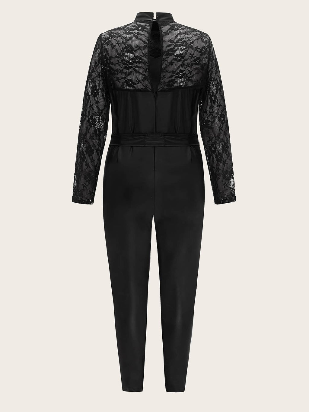 Plus Size Glam Contrast Lace Belted PU Leather Jumpsuit