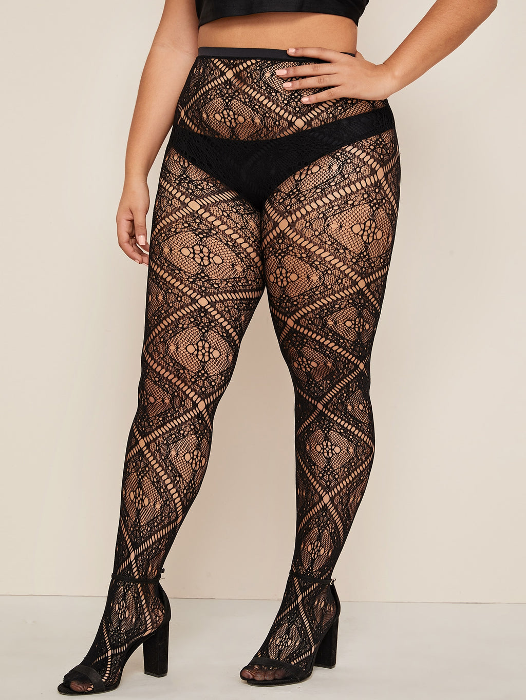 Plus Size Sheer Mesh Tights