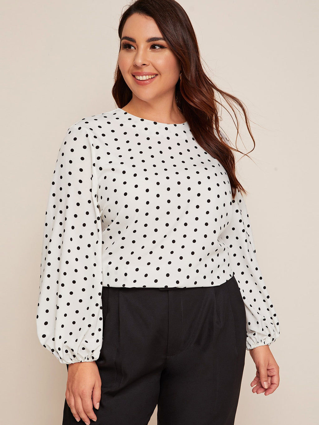 Plus Size Polka Dot Lantern Sleeve Top