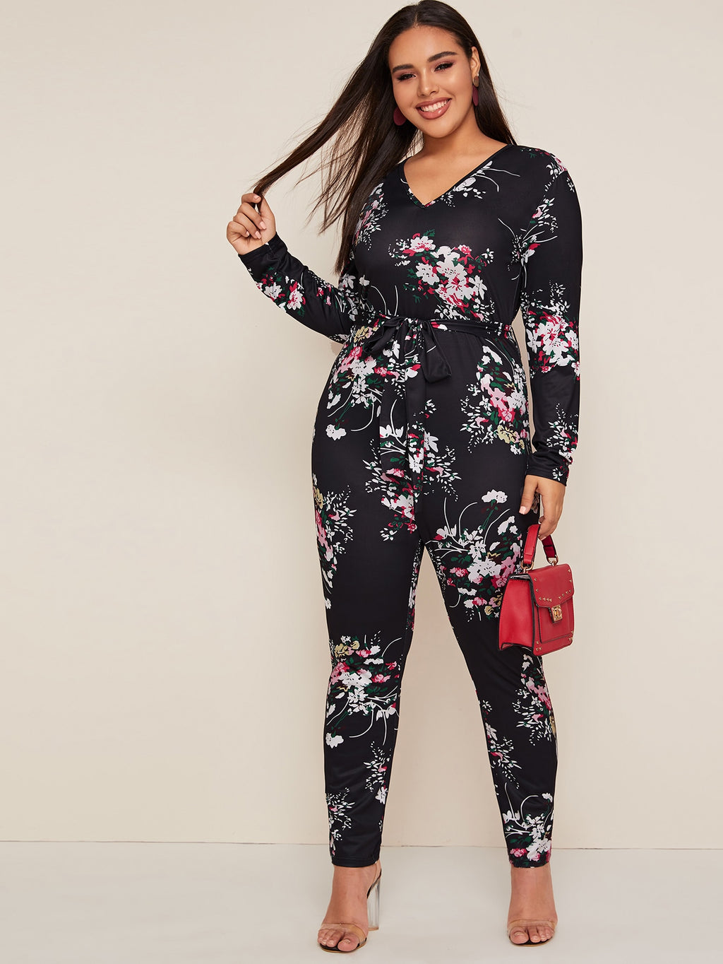 Plus Size V-neck Floral Print Belted Jumpsuit