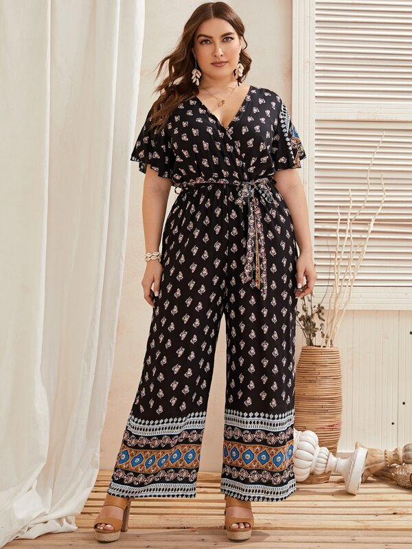 Plus Tribal Print Surplice Front Belted Jumpsuit