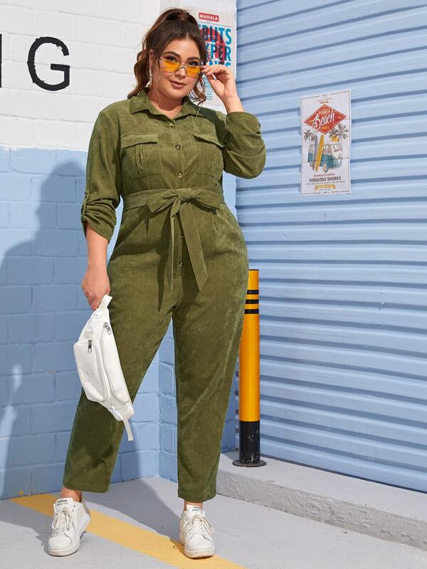 Plus Size Roll Tab Sleeve Flap Pocket Belted Cord Shirt Jumpsuit