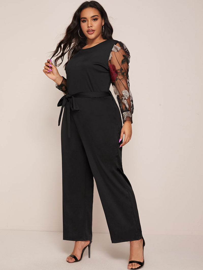 Plus Size Floral Embroidered Mesh Sleeve Belted Jumpsuit