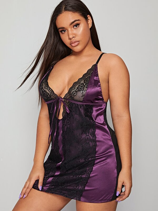 Plus Size Contrast Lace Satin Slips