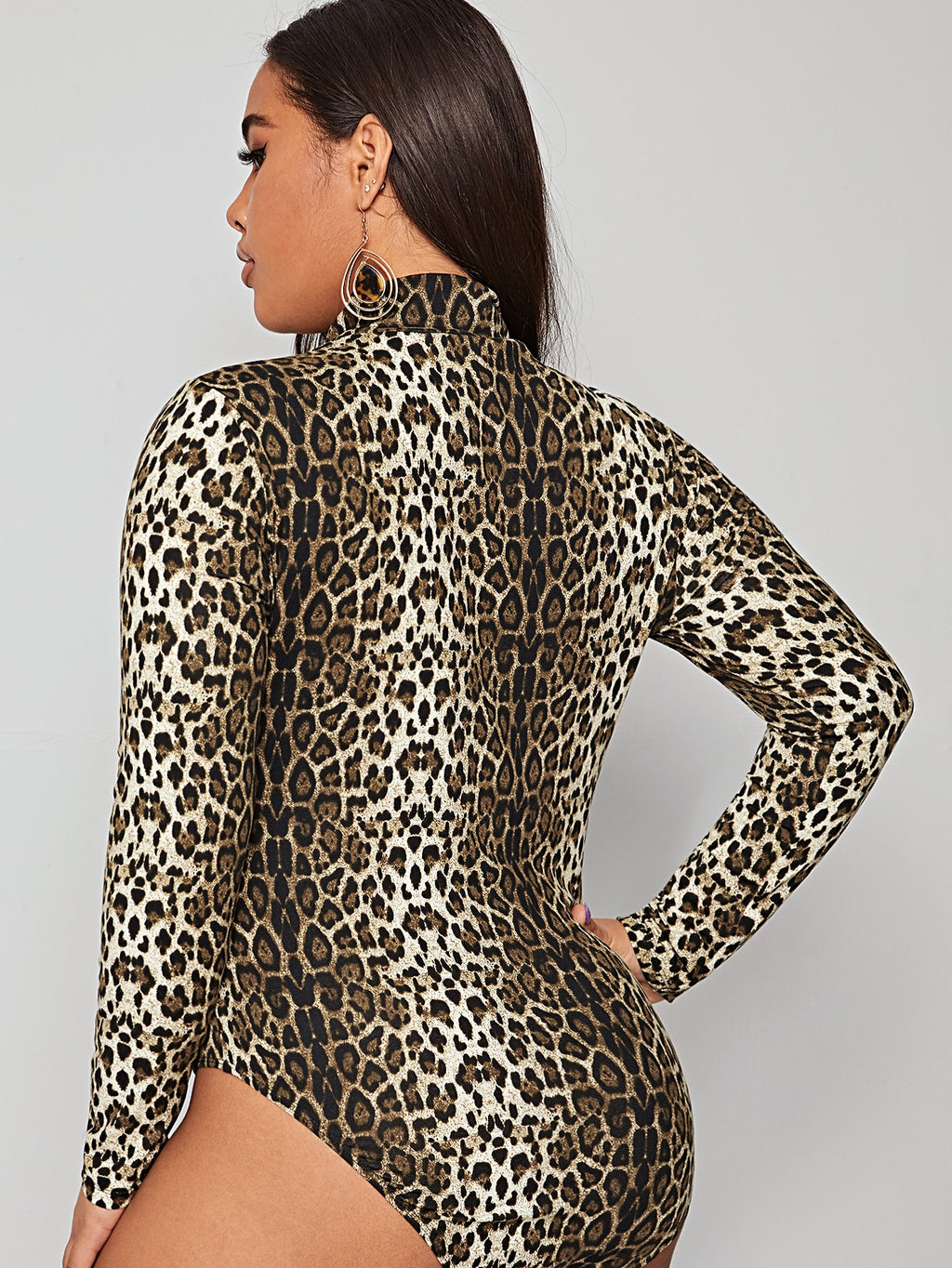 Plus Size Leopard High Neck Bodysuit
