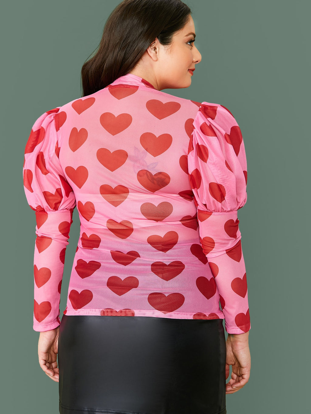 Plus Size Mock Neck Heart Mesh Sheer Top