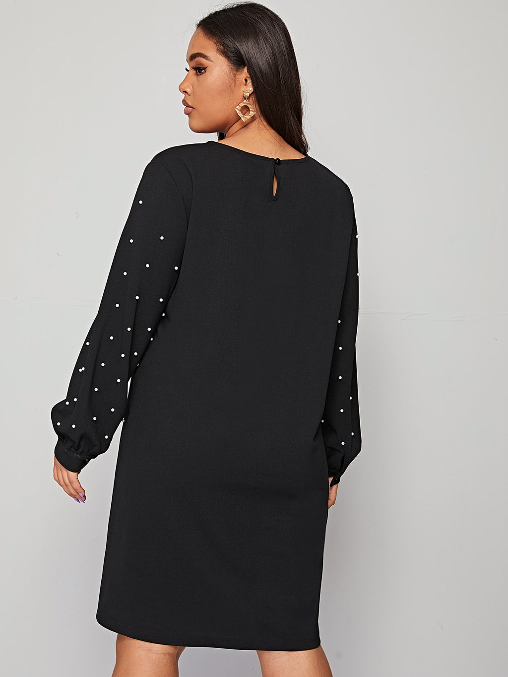 Plus Size Pearl Detail Tunic Dress Without Belt