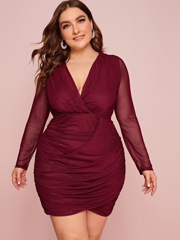 Plus Size Surplice Neck Ruched Sheer Mesh Dress