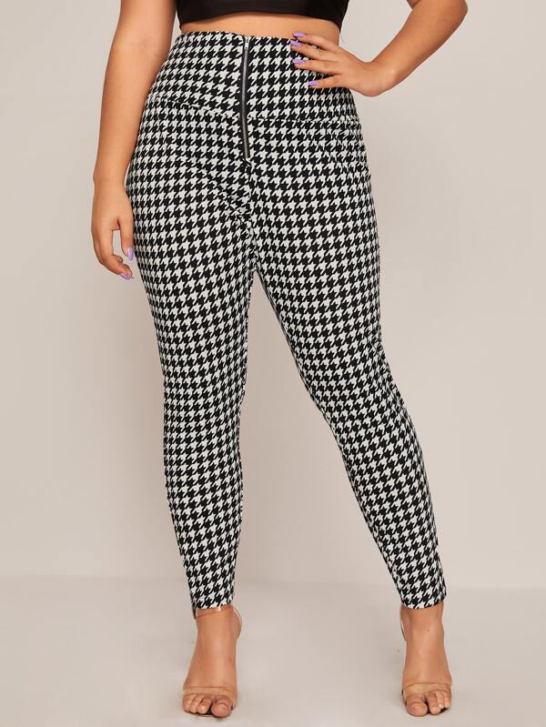 Plus Size Wide Waistband Zip Fly Houndstooth Pants