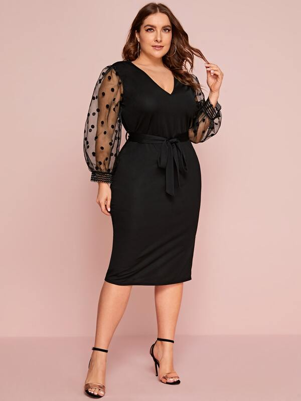 Plus Size Polka Dot Mesh Lantern Sleeve Belted Fitted Dress