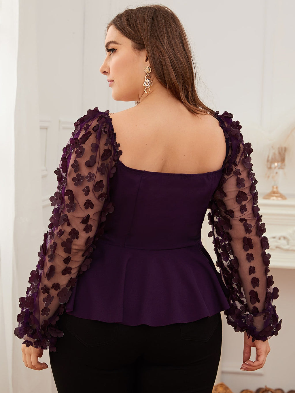 Plus Size 3D Applique Mesh Sleeve Peplum Top