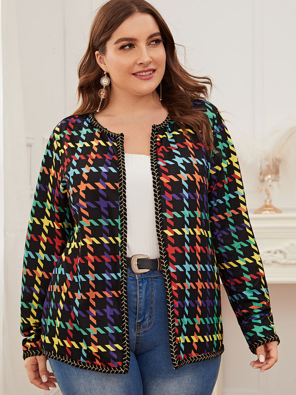 Plus Size Tape Detail Open Front Jacket