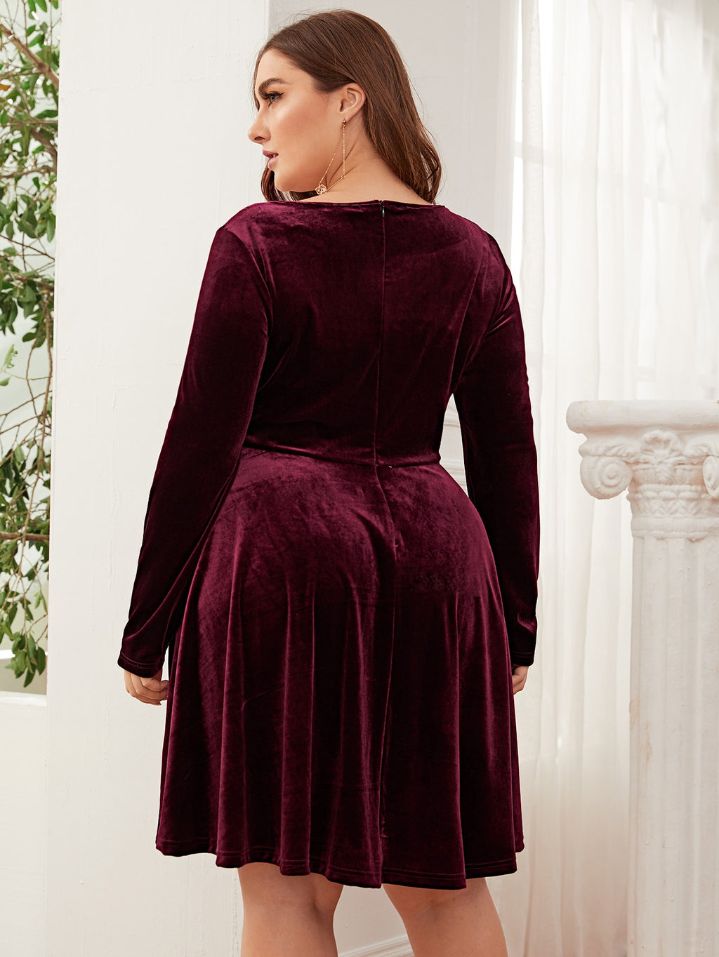 Plus Size Square Neck Velvet Flare Dress