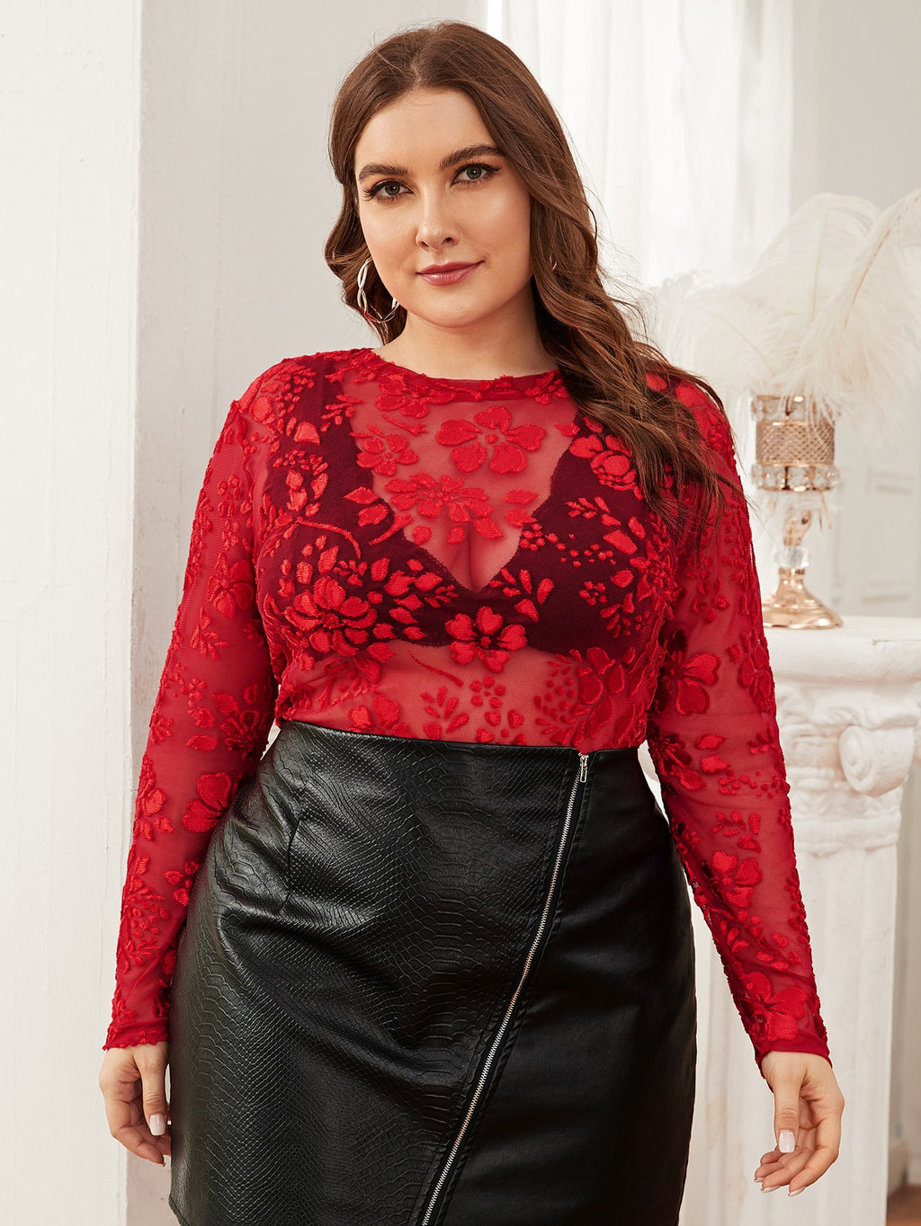 Plus Size Floral Flocked Mesh Top Without Bra