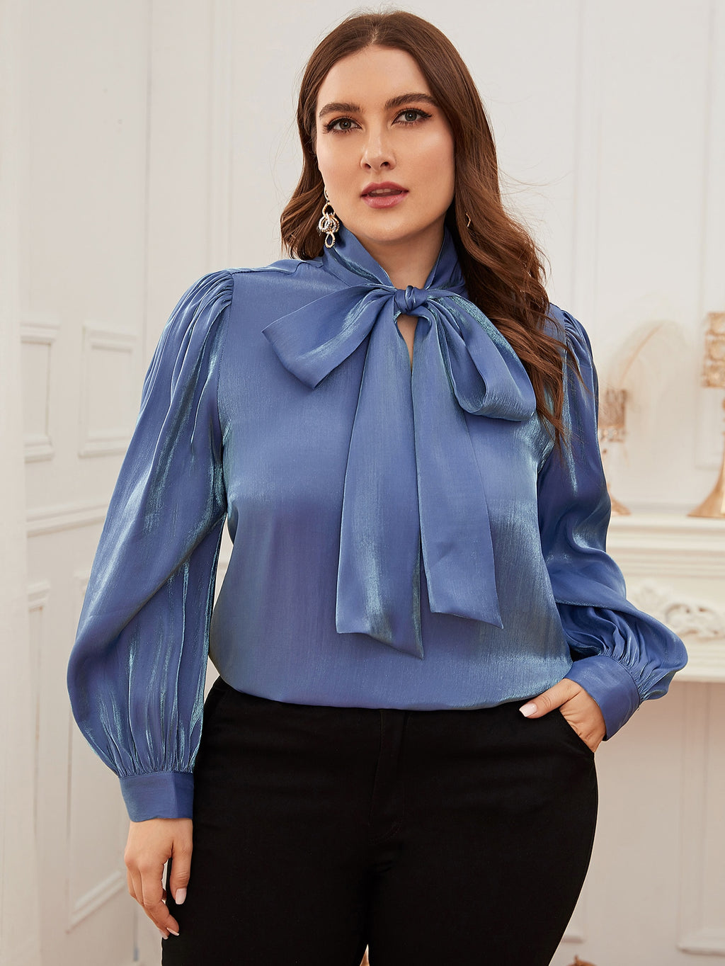 Plus Size Bow Tie Neck Silky Top