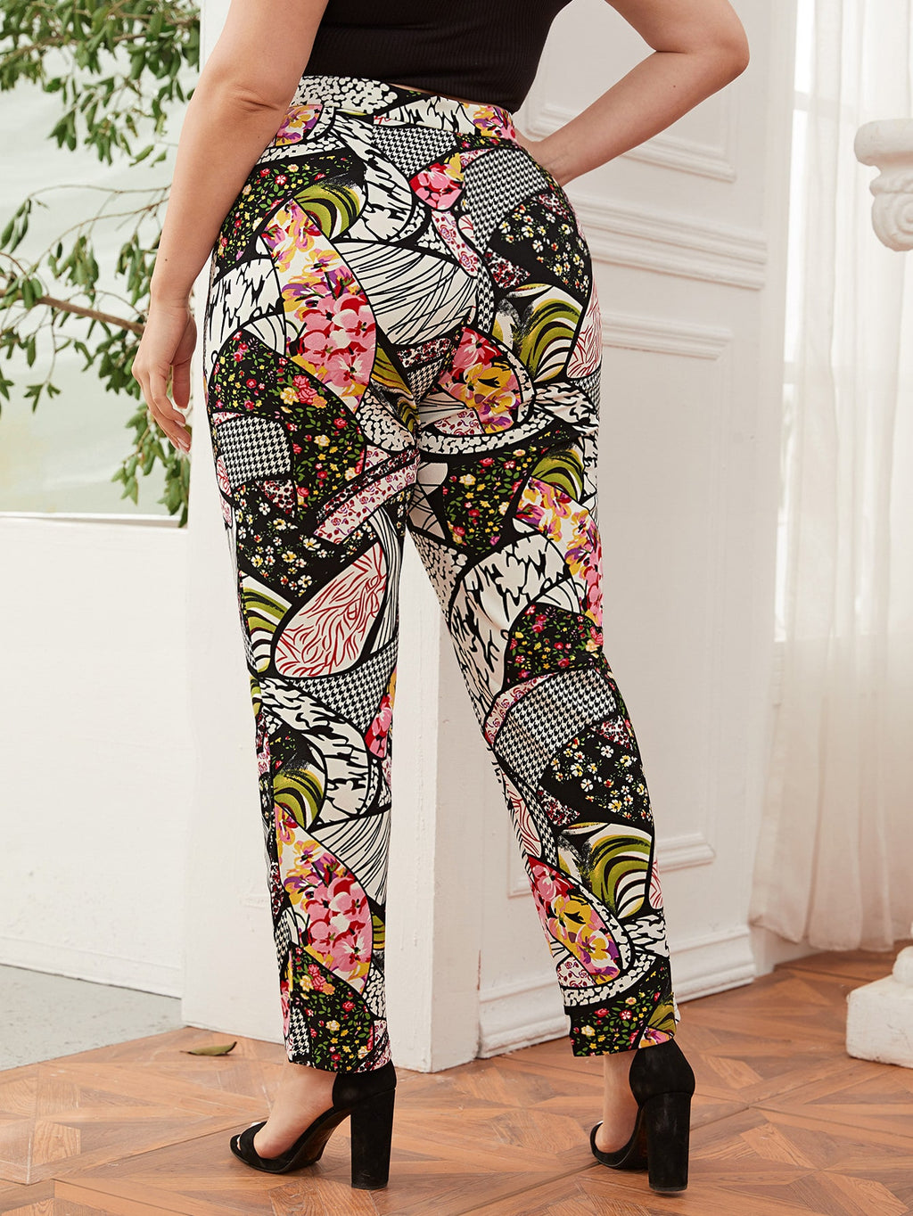 Plus Size Patchwork Print Pants