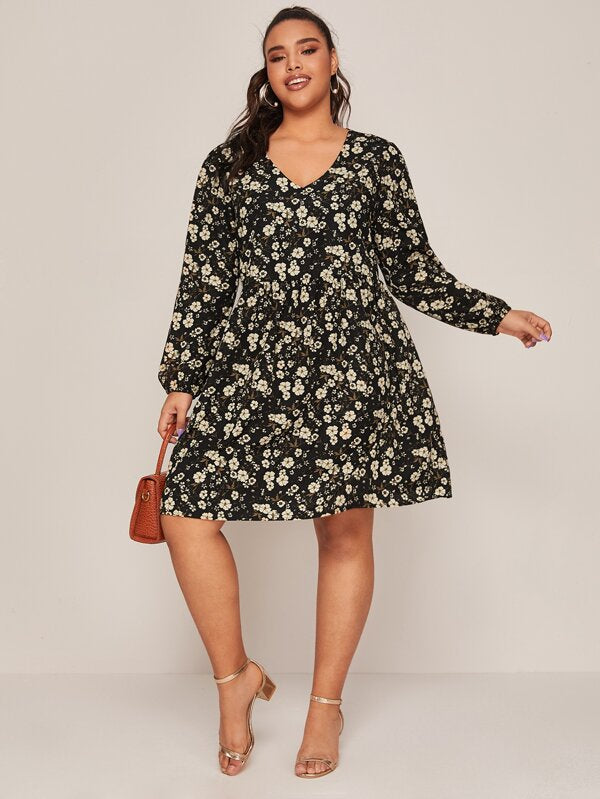 Plus Size V-neck Floral Print A-line Dress