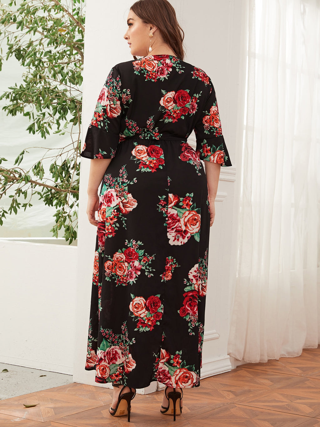 Plus Size Floral Print Flounce Tie Wrap Dress