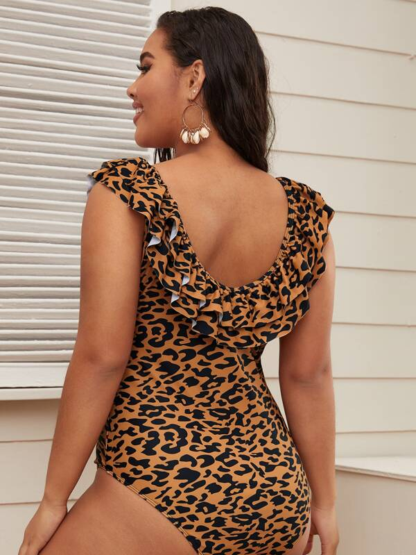 Plus Size Leopard Tiered Layer One Piece Swimsuit