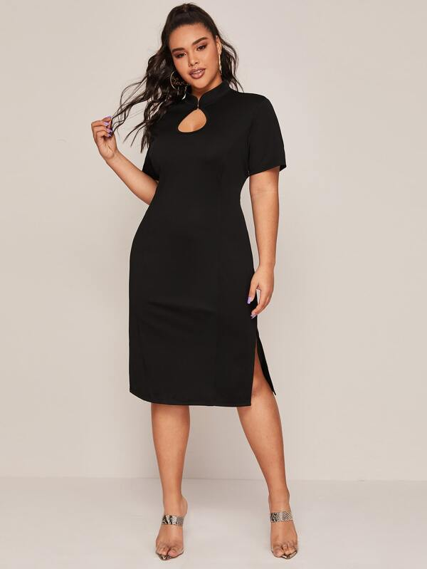 Plus Size Mandarin Collar Split Detail Fitted Dress