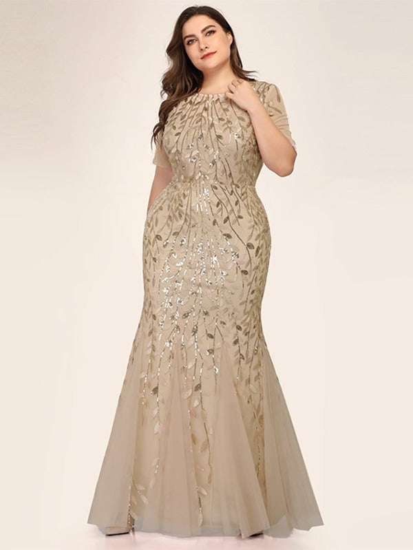 Plus Mesh Overlay Sequin Appliques Mermaid Dress