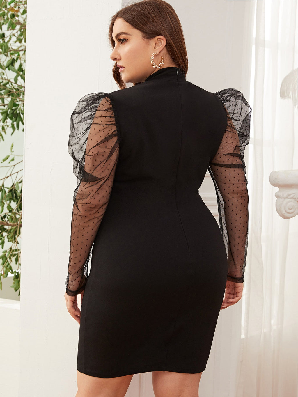 Plus Size Sheer Mesh Sleeve Detail Bodycon Dress