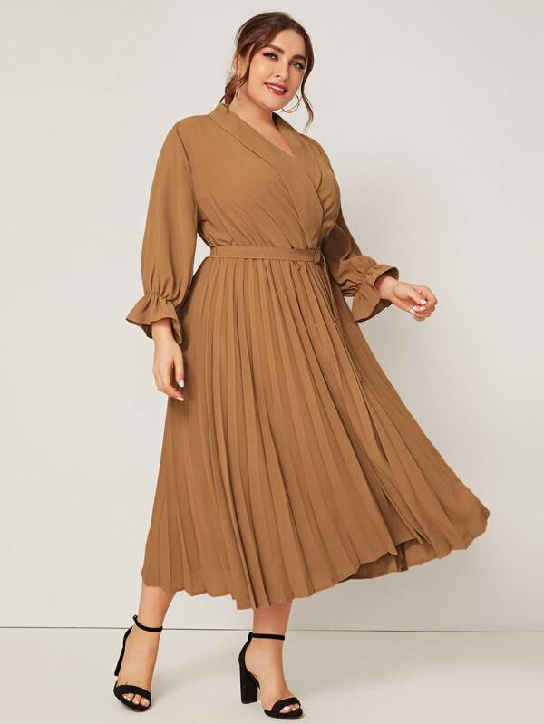 Plus Shawl Collar Buckle Belted Pleated Dress